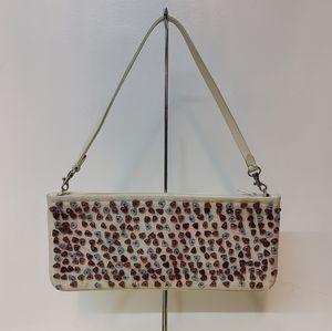 BCBG Max Azria Cream Embellished Shoulder Bag
